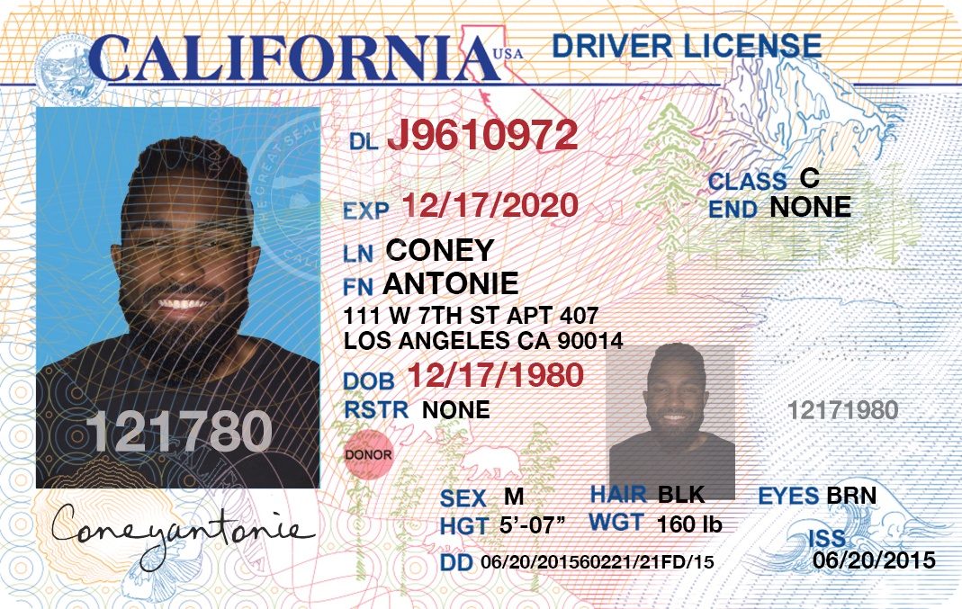 give high quality US state driving lisence template
