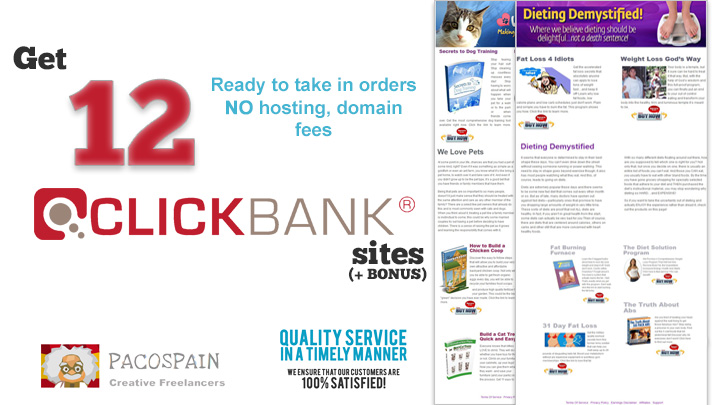 give 12 Money websites selling Clickbank products