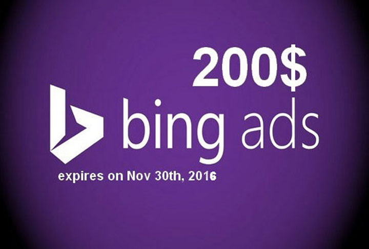 give $200 Bing Ads Coupon / Voucher in only $5 for $5