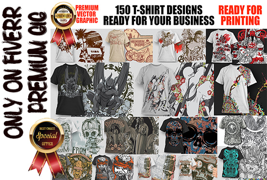 give you 150 shirt designs ready for printing