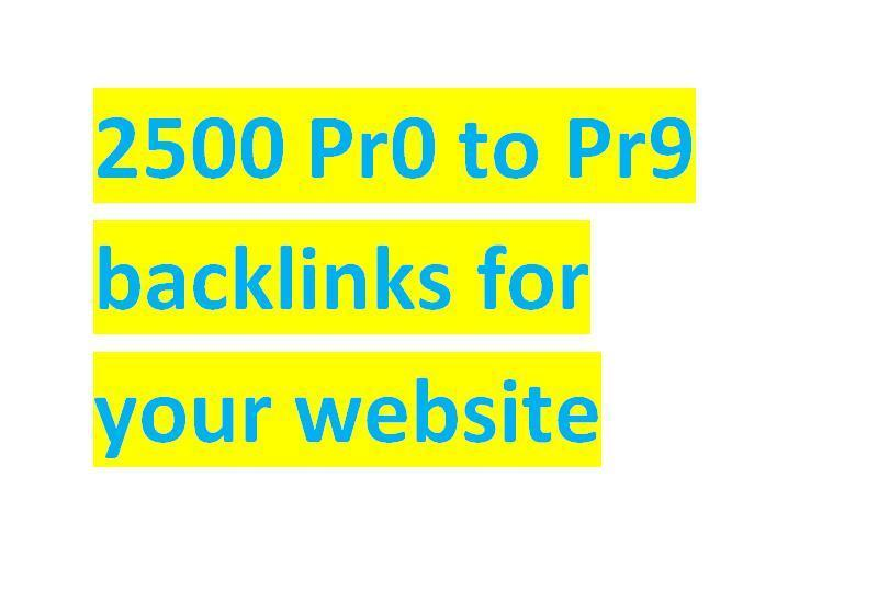 create 2500 Pr0 to Pr9 backlinks, and pinging for your website