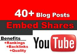 share and embed your YouTube video in over 40 blog posts with relevant content mistreatment my very own websites network, discourse video backlinks
