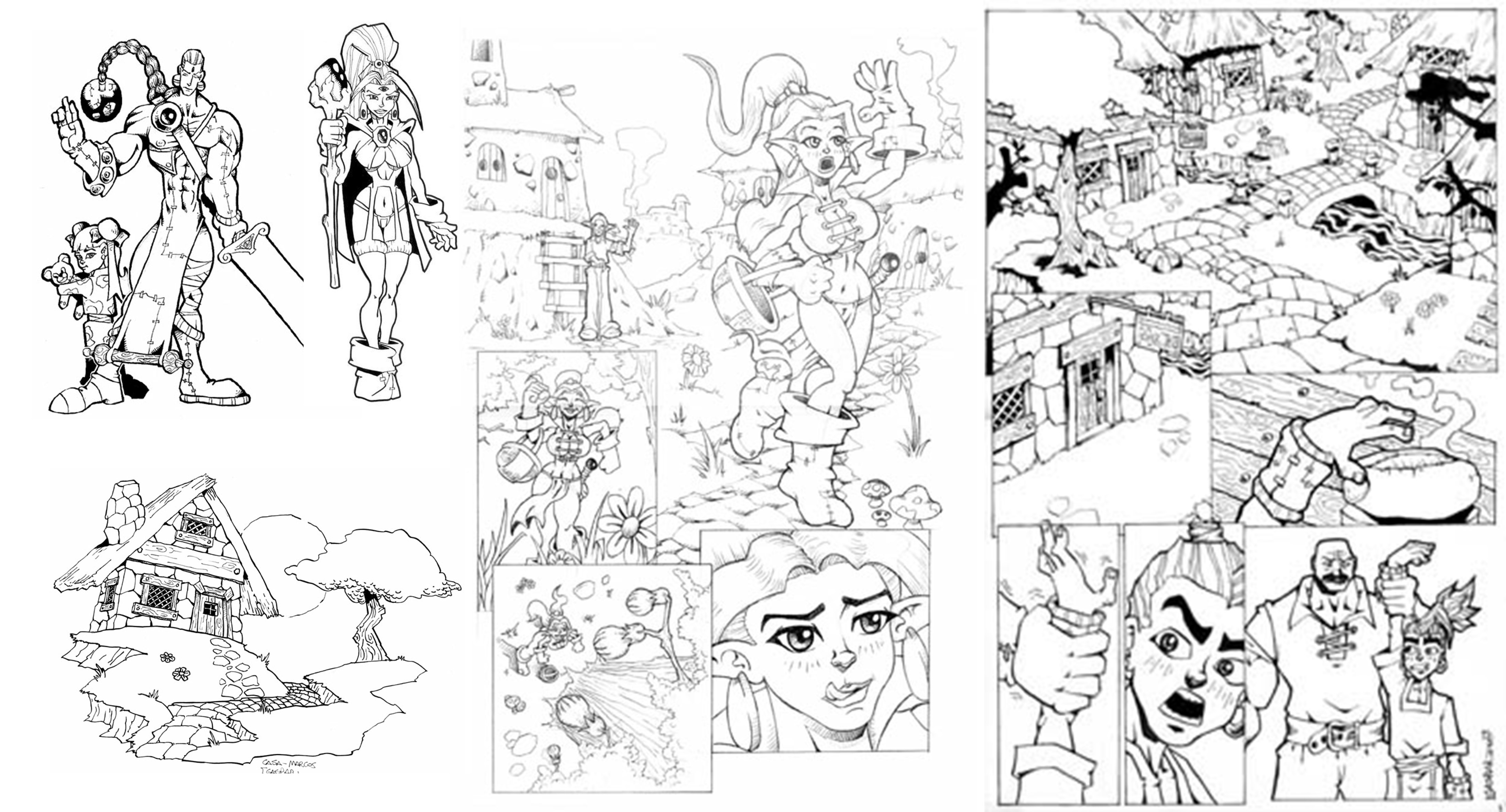 pencil and ink a comic book page of 3 panels