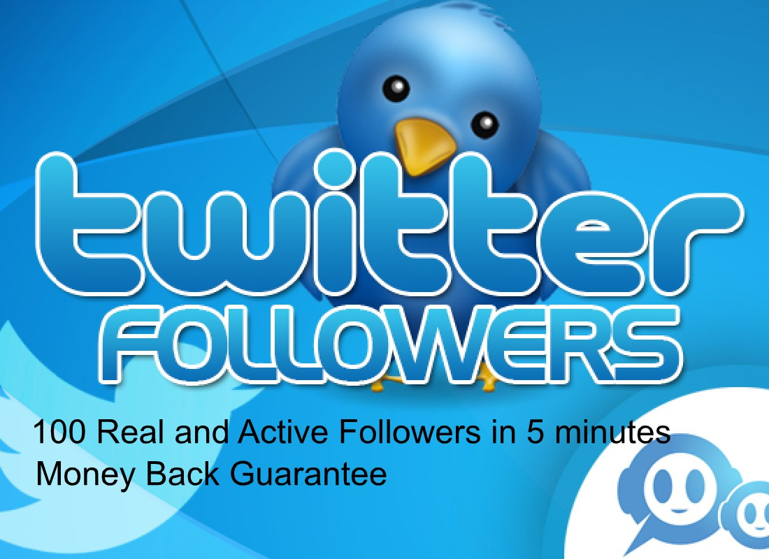 100 real and active TWITTER followers