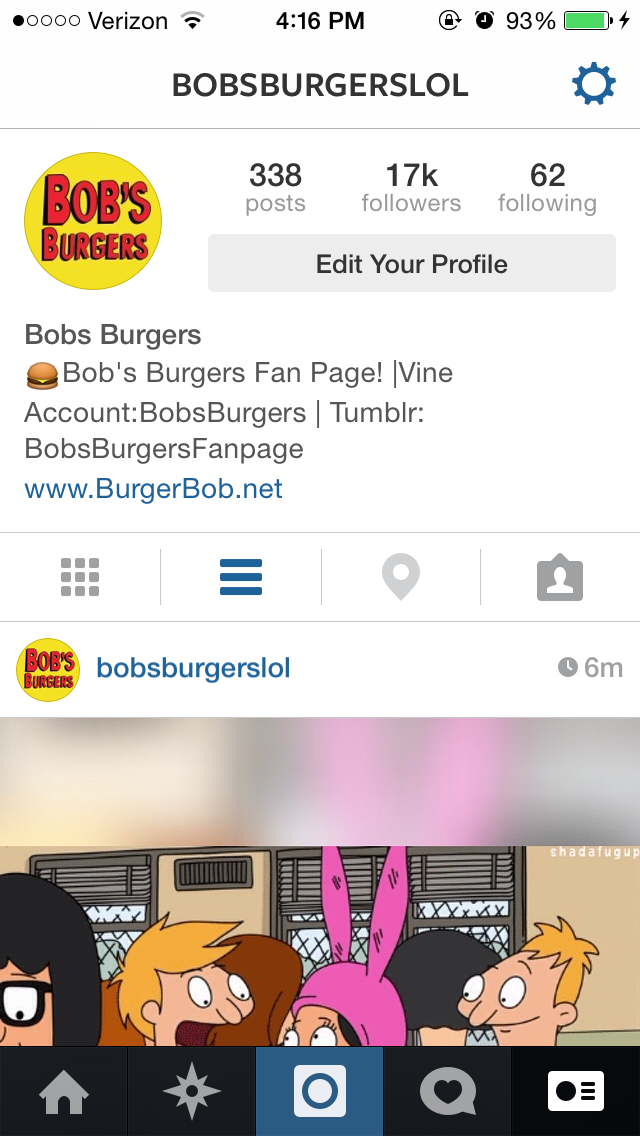 Shout Out Your Instagram and Twitter on my @BobsBurgersLol Account (17k followers)