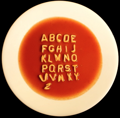 write your message in alphabet soup