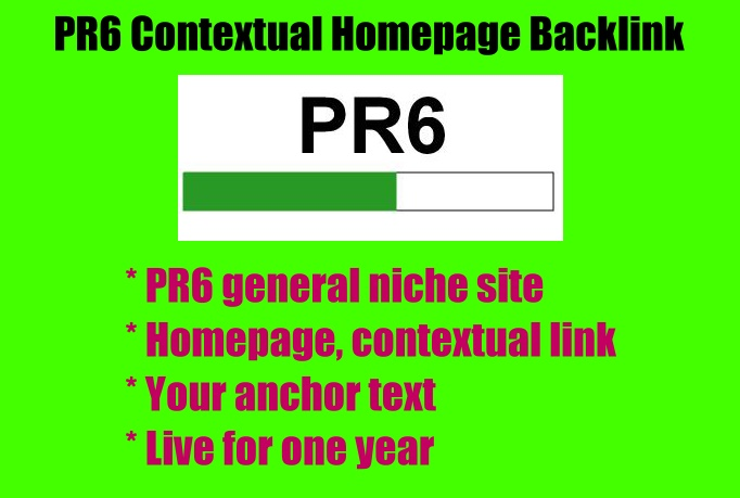 Give You a PR6 Contextual Homepage Link For 1 Year - General Niche