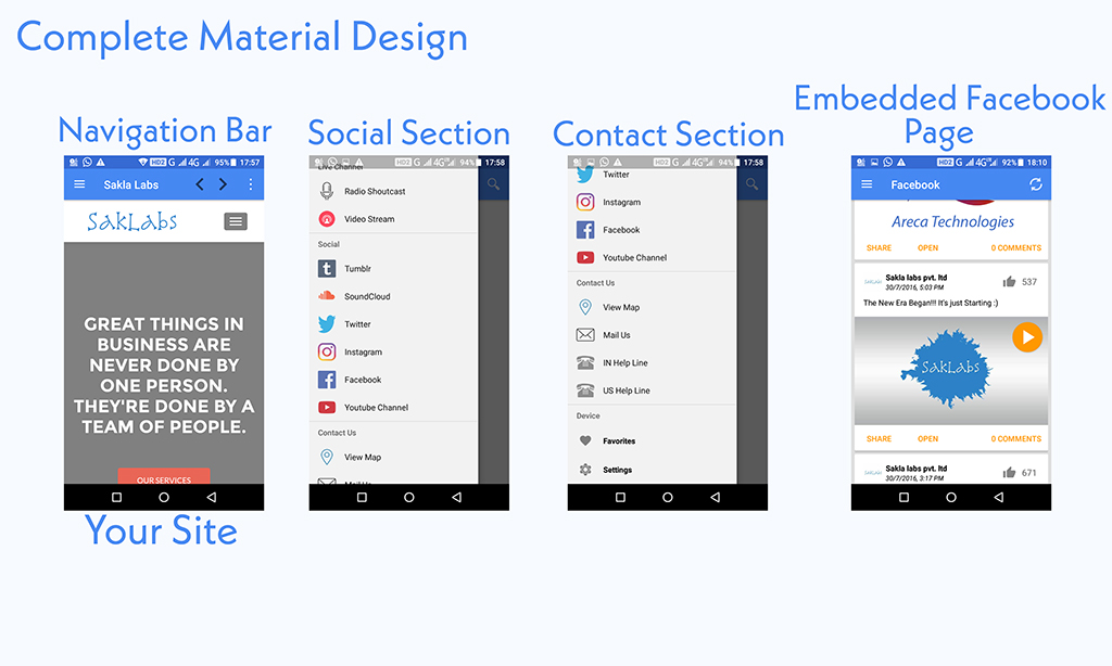 convert website into Android App with Material Design, And Publish on Play Store