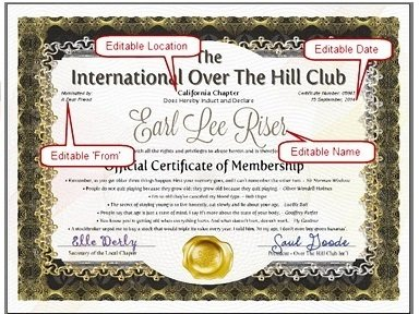 OVER THE HILL or OLD FARTS CLUB Official Certificate Of Membership Gift - MAIL