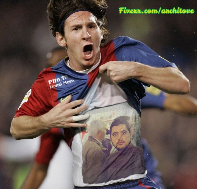 put your photo on Messi tshirt