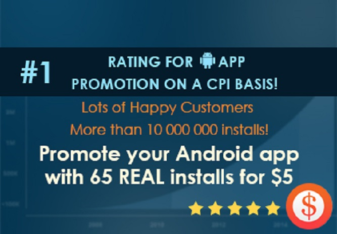 provide 65+ REAL installs for your Android app WORLDWIDE just