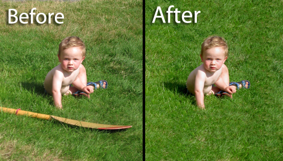 remove person or object from picture fast and professional photoshop