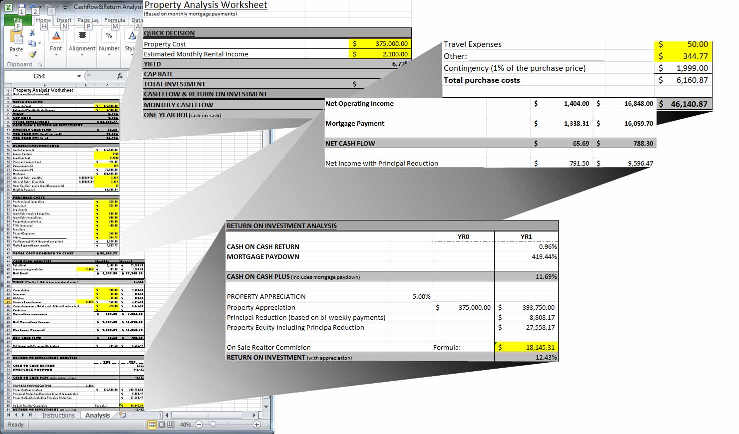 send you a Real Estate rental analysis worksheet