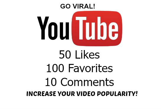 add 50 YouTube Likes, 100 favorites, 10 Comments