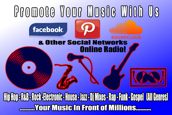 promote your music up to 3 million FB and Pinterest Fans