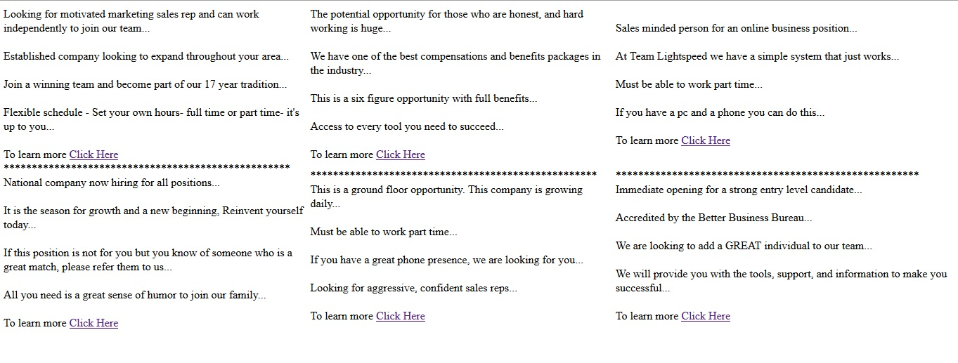 write 10 very simple yet effective Craigslist/classified ads.