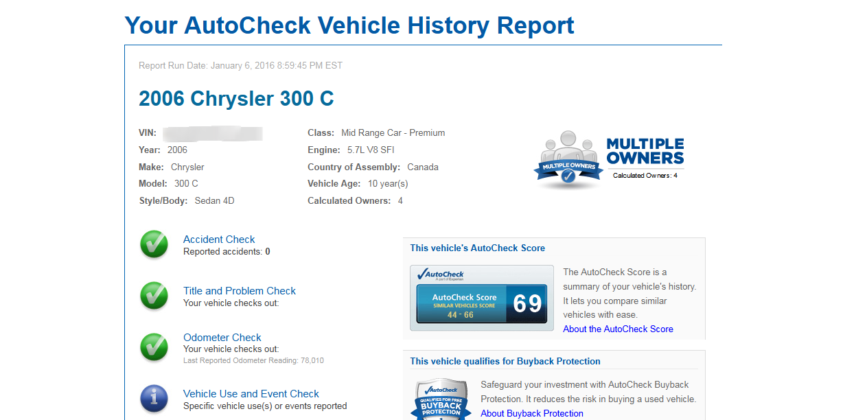 Provide 2 autocheck vehicle reports