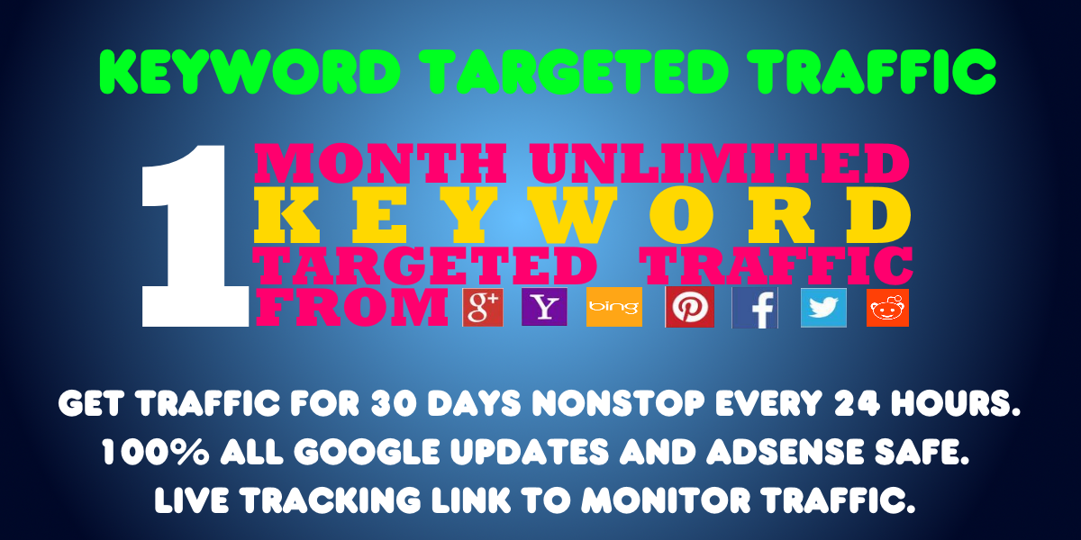 send Monthly KEYWORD Targeted traffic to your website