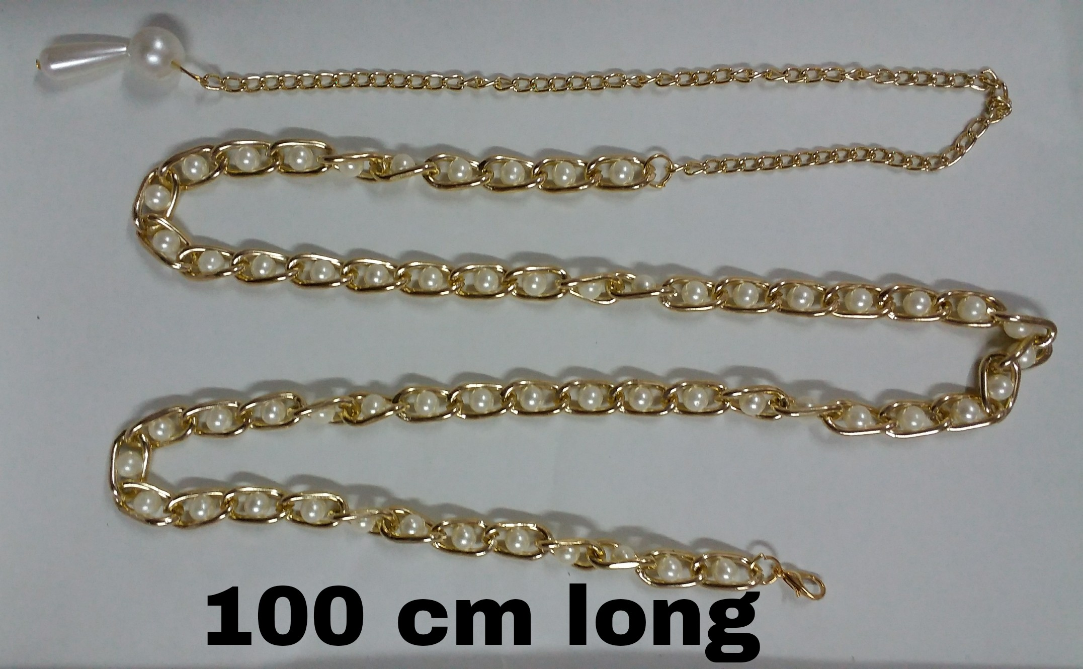 Send golden chain belt with creamy beads for females
