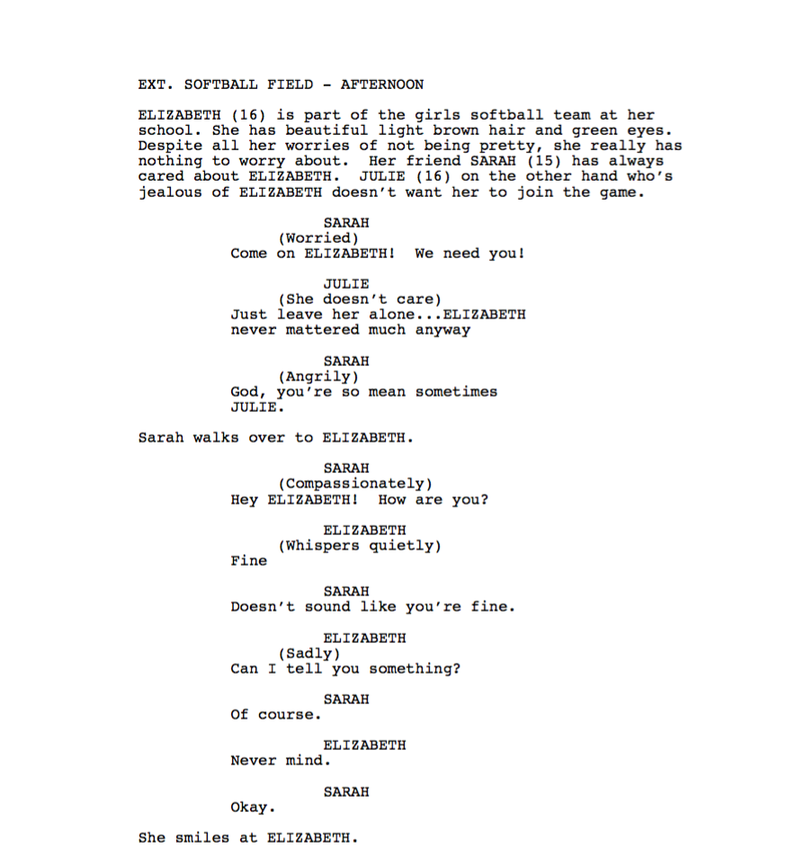 write a one page short film