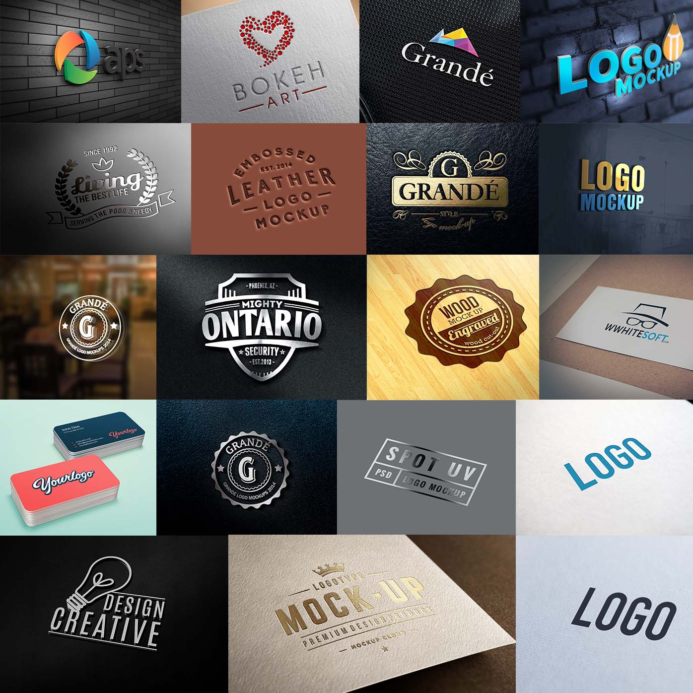 do 20 Photorealistic 3d logo mockups Quickly