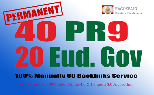 Permanent 40 PR7-9 High Authority Backlinks + 20 .EDU/.GOV Free