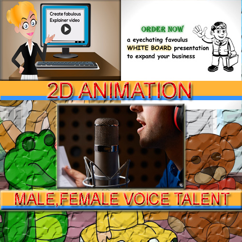 provide Male, Female Voice over and 2D animation for you