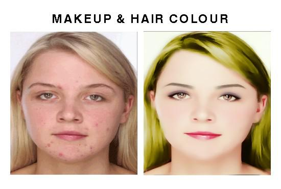 do Makeup, Hair Color, ACNE, Enhance, Eye Color,Smile Lips
