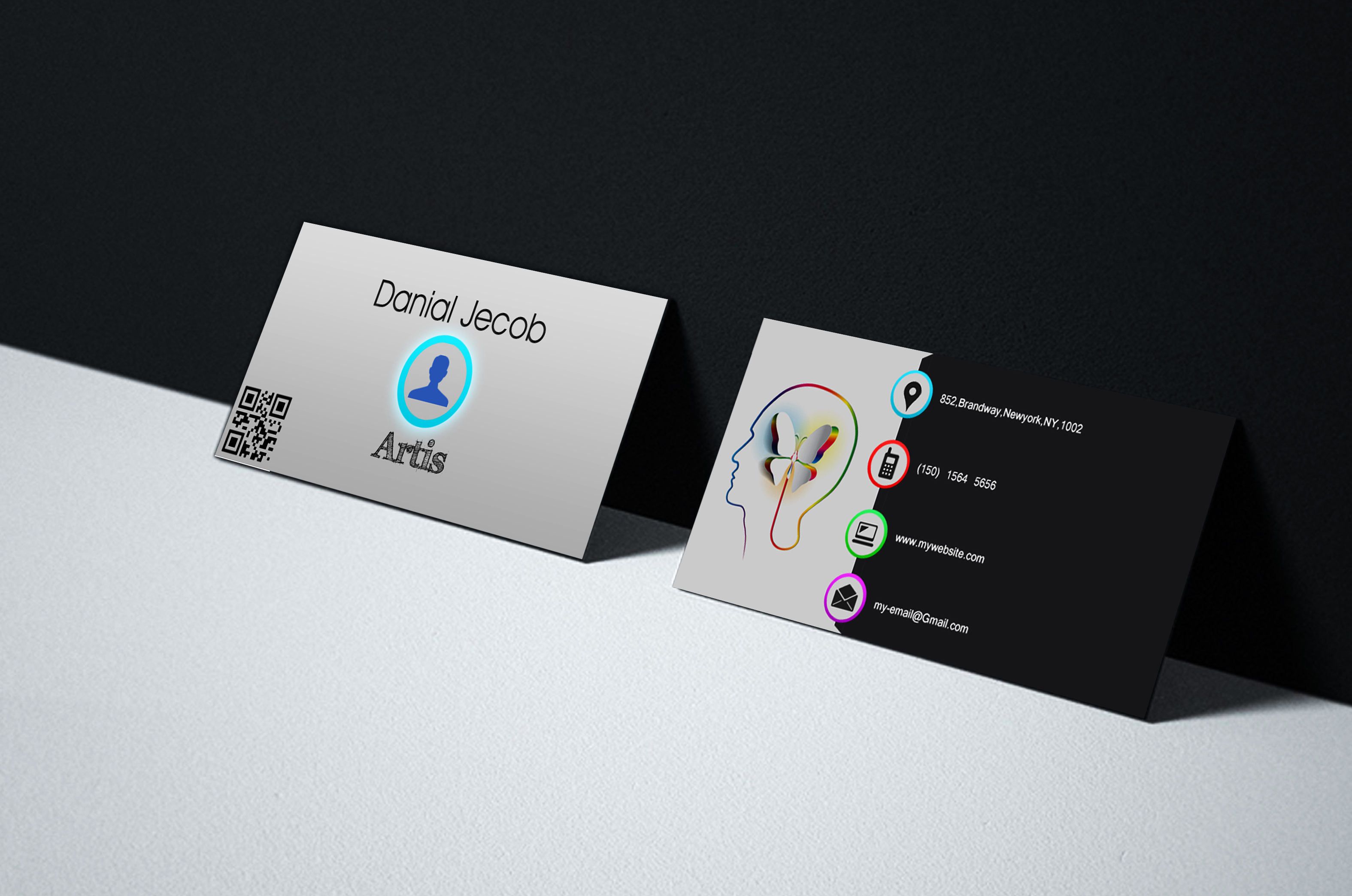 Create 3 stylish business card design.
