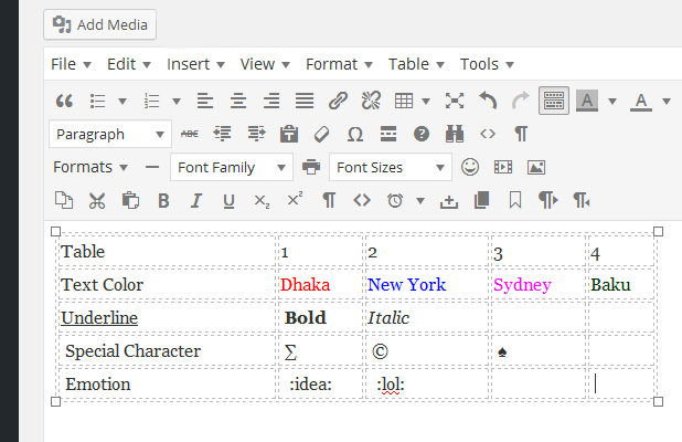 Create table and features of MS Word Editor in WordPress