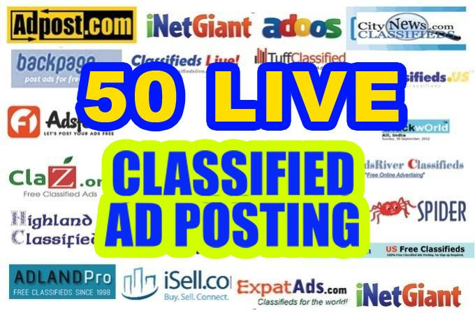 post your Business,Service,Jobs,buy and sale, or Website Ad on 50 Top rated for $5
