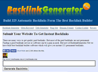 send Backlink Generator automatically create 325 permanent Do Follow Backlinks