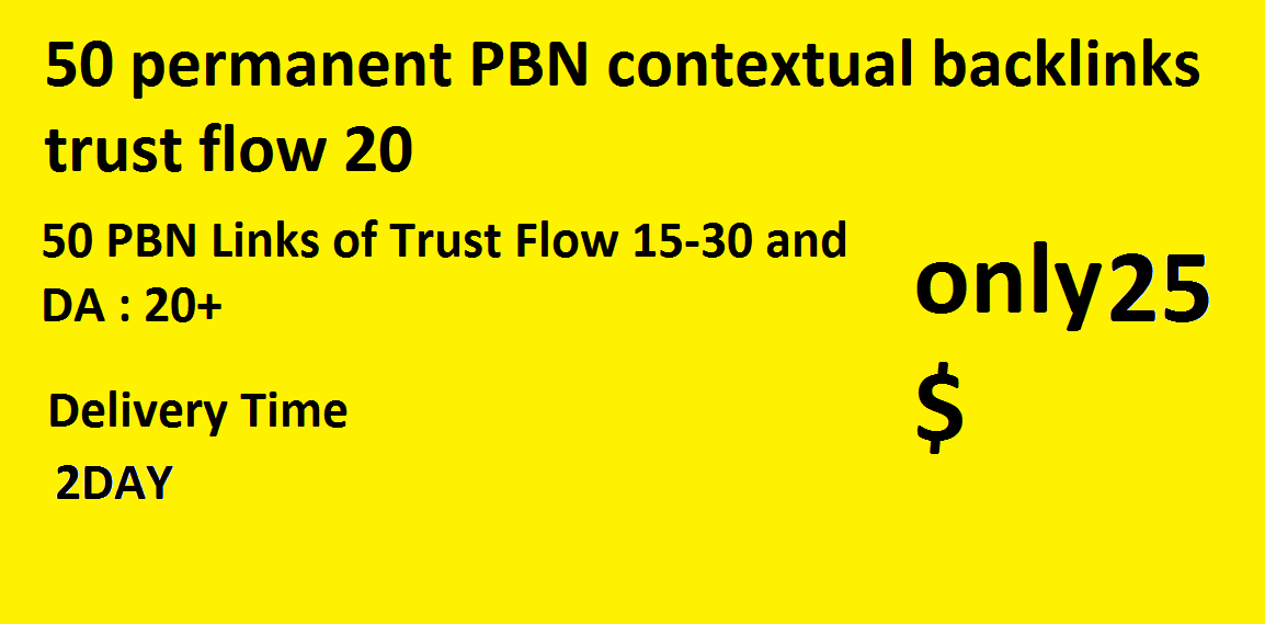 50 permanent PBN contextual backlinks trust flow 20