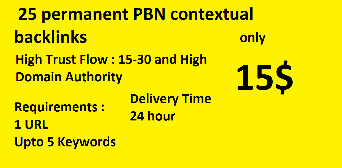 25 permanent PBN contextual backlinks trust flow 20