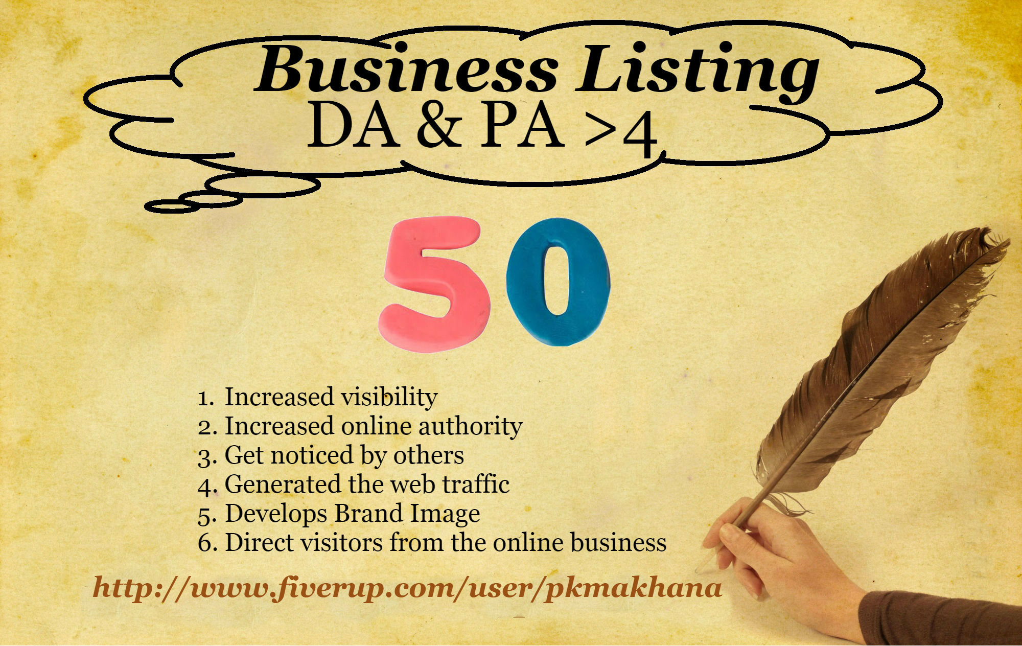 make 50 Business Listing on High Domain Authority sites