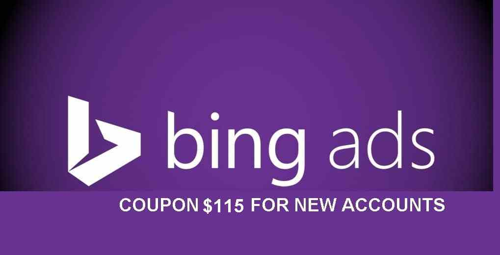 give you1x 115 USD bing ads coupon for new accounts