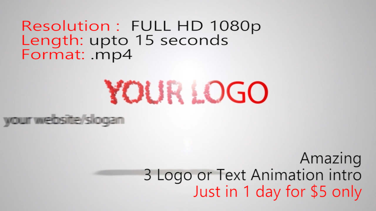 create 3 logo or text animation intro with sound just in dollar 5