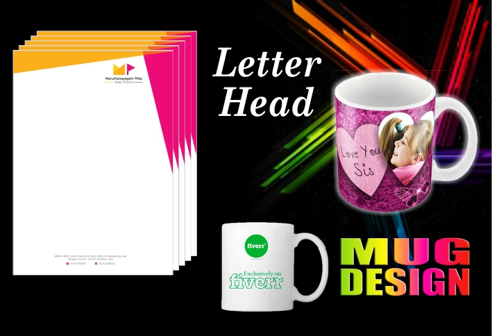 Do 2 Eye Catching Letter Head, Mug and Any Design 5hor