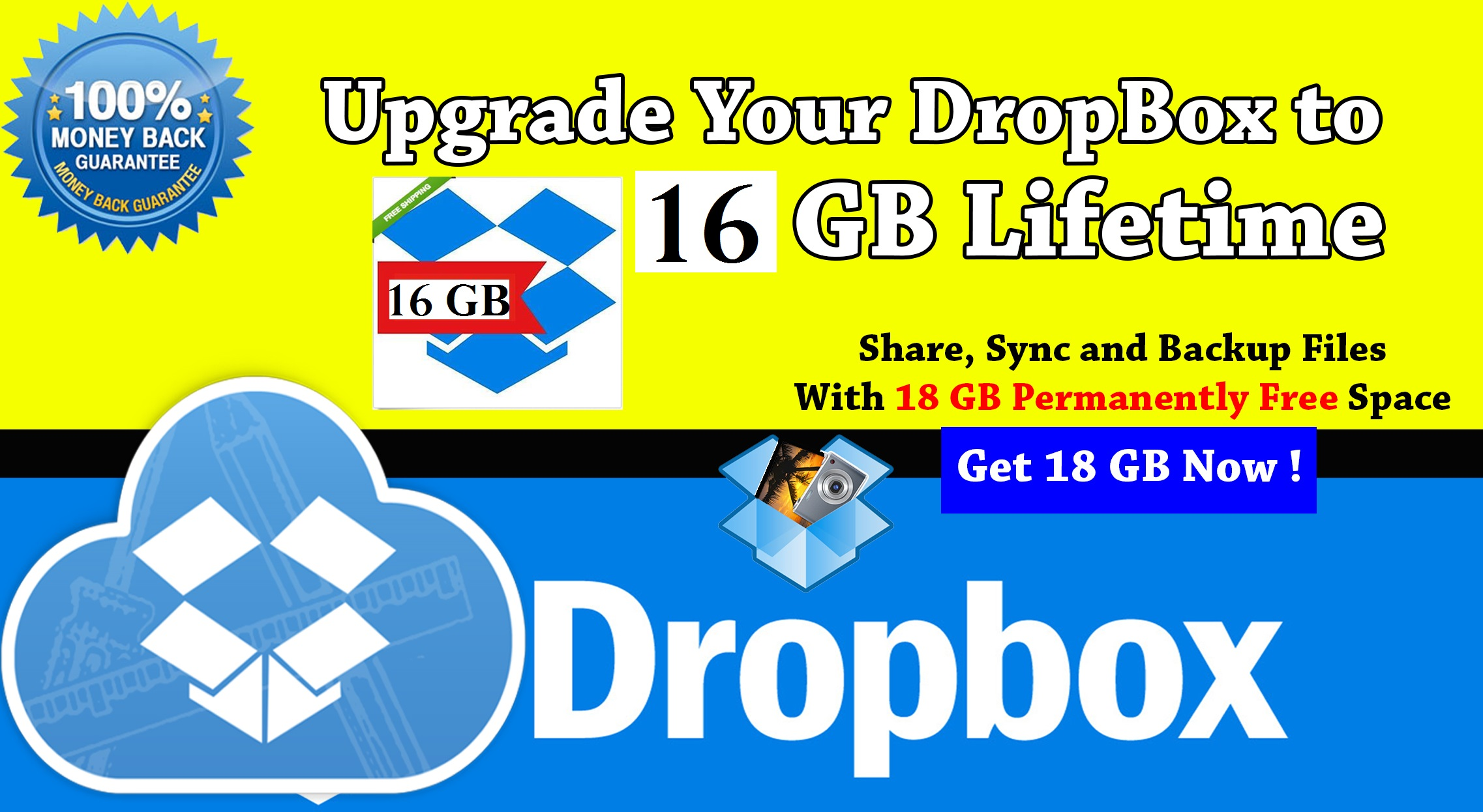 upgrade your dropbox storage up to 16 GB