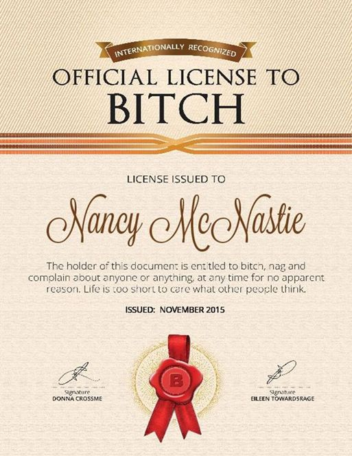 Official License To...Worry, Drive, Bitch, Shop, Prescription To Get Well