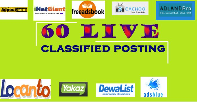 post your Ads on 60 top rated classified sites