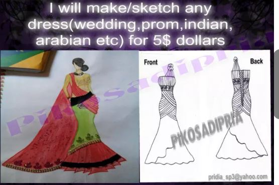 design or sketch a dress or anything for you
