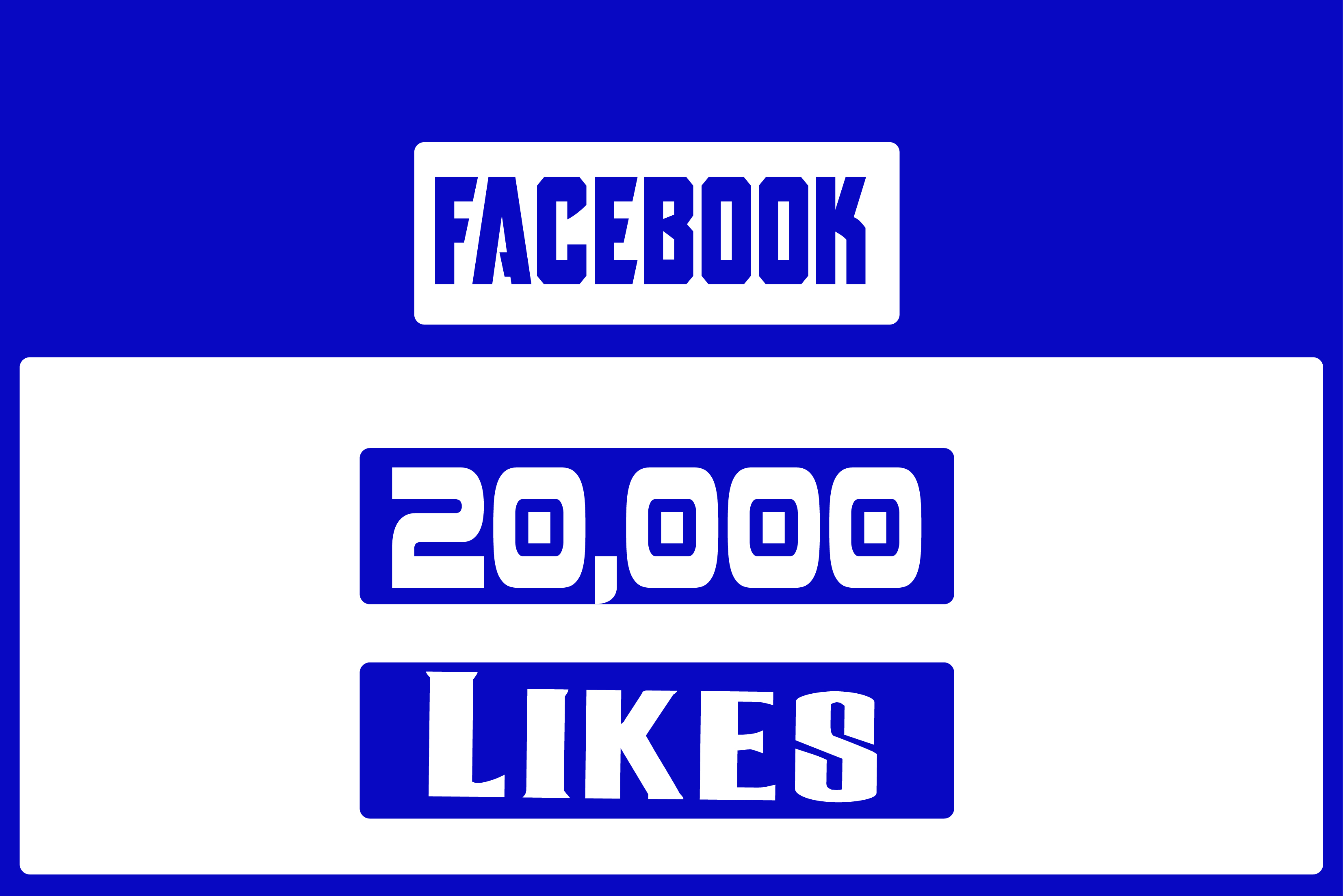 give 20,000+ Real Facebook Page likes Non Drop in 24 Hours! -Great Service – Fast Delivery – High Quality – 100% SAFE