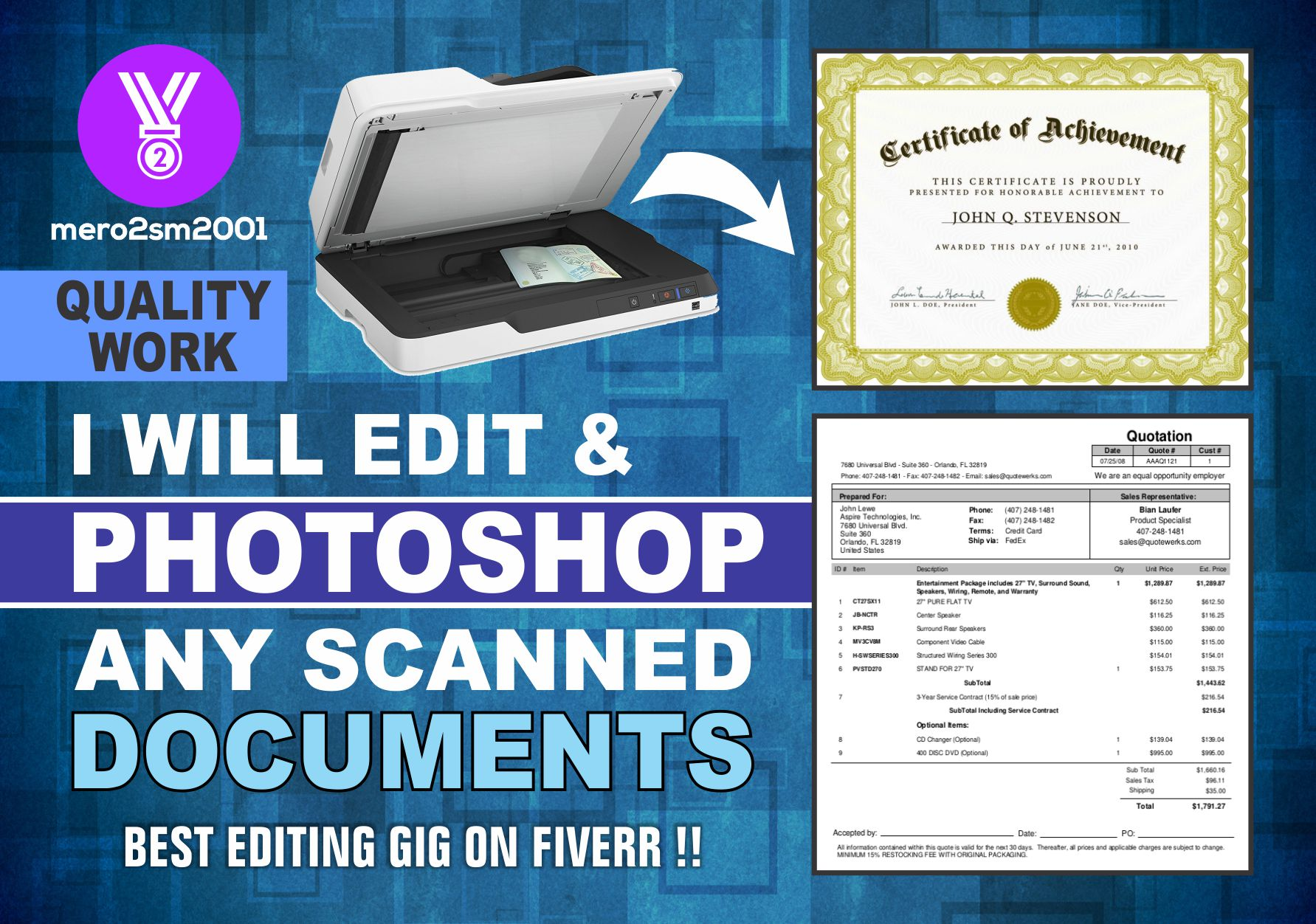 Will Edit And Photoshop Scanned Or Downloaded Documents