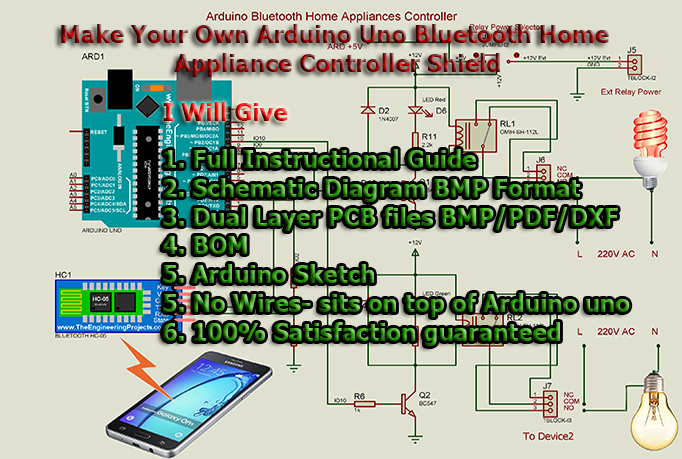 Provide PreDesigned Arduino Bluetooth Home Appliance Controller (Two Devices) Shield Schematic/PCB
