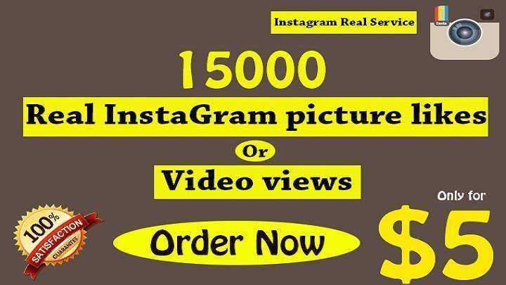 15000 instagram real picture likes or video views