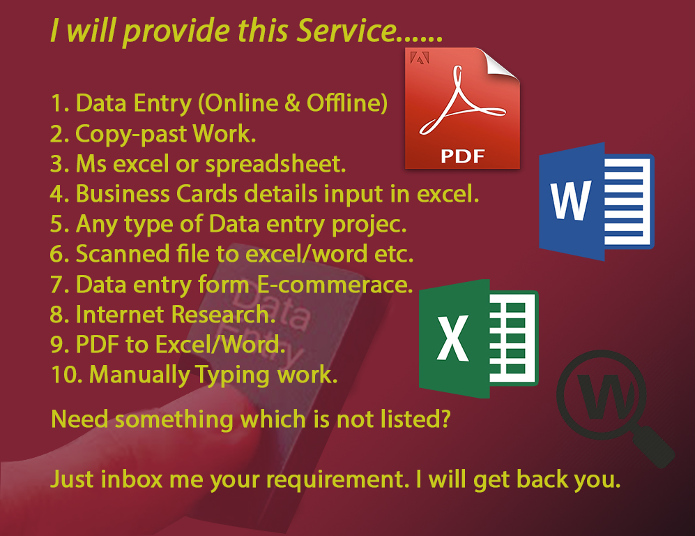do any kind of data entry work for you only