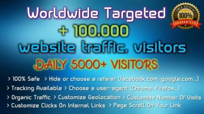 Drive 100k Worldwide Targeted Organic Visitors Traffic (Starter Package)