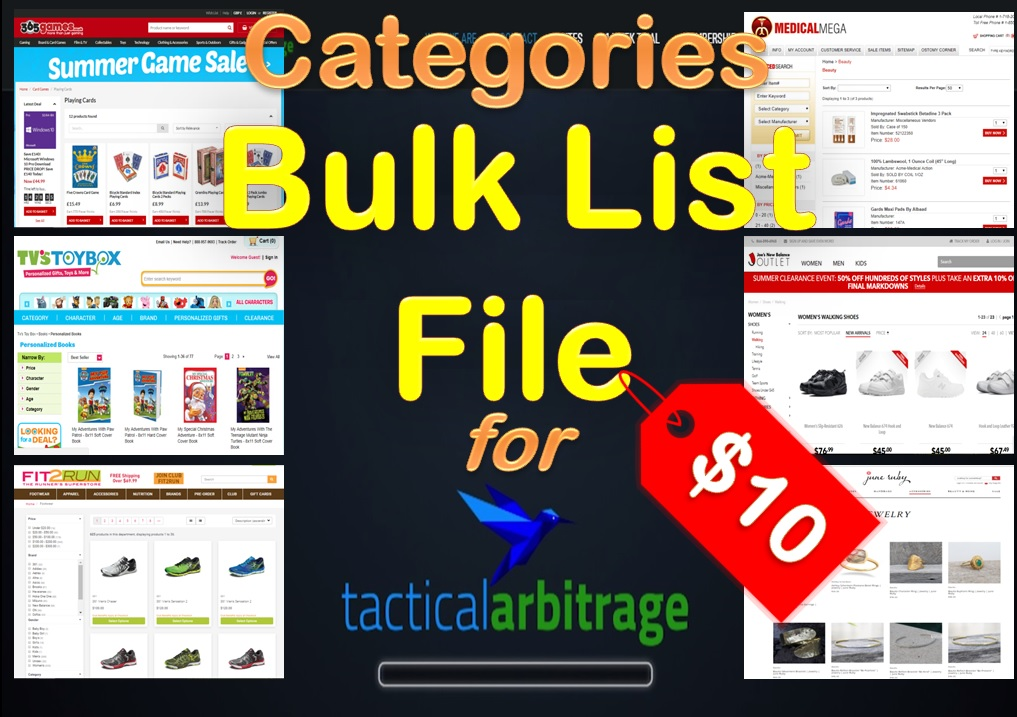 Generate Categories Bulk List File for Tactical Arbitrage