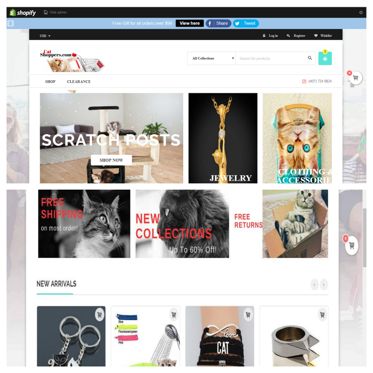 create shopify unlimited free trial with premium theme and 8 top selling products